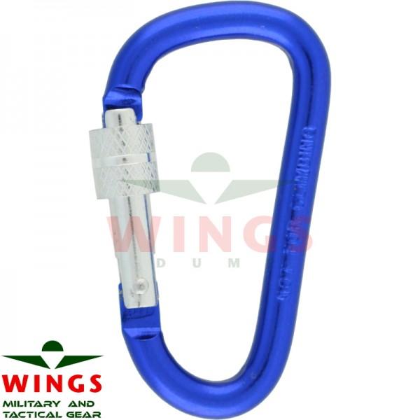Karabijnhaak 60 x 30 x 6 mm met lock aluminium blauw
