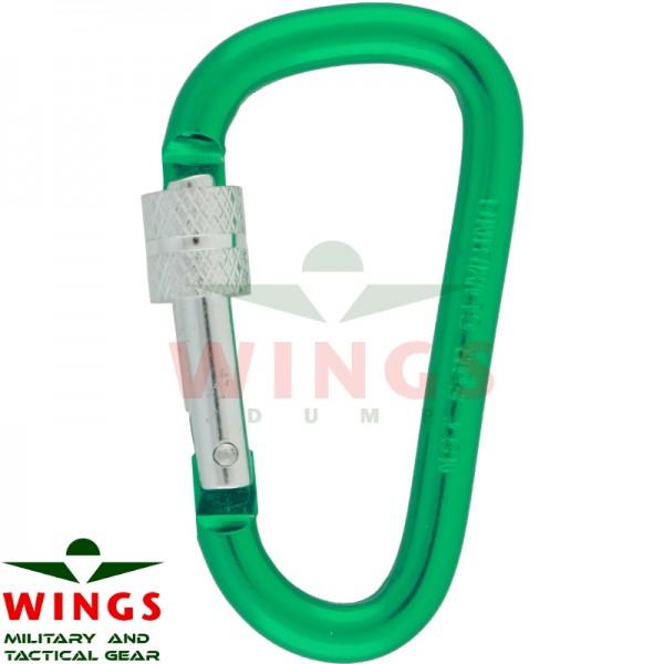 Karabijnhaak 60 x 30 x 6 mm met lock aluminium groen