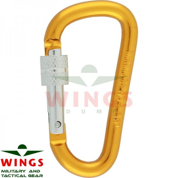 Karabijnhaak 60 x 30 x 6 mm met lock aluminium oranje