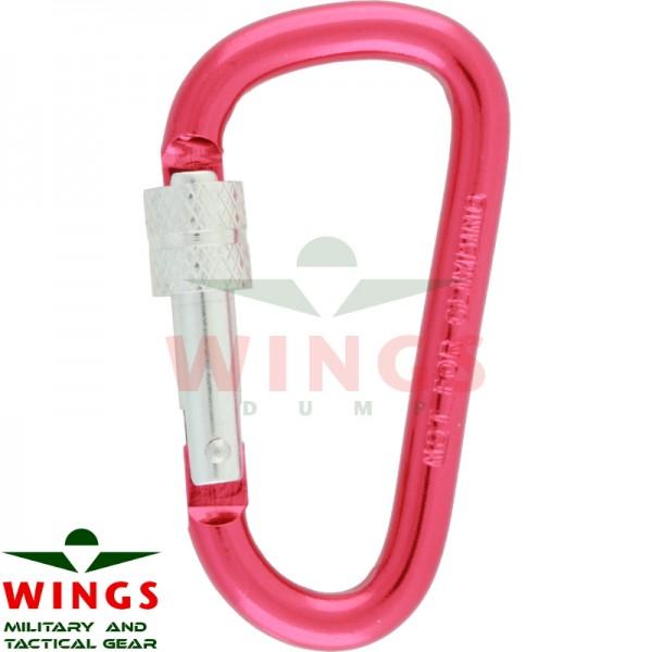 Karabijnhaak 60 x 30 x 6 mm met lock aluminium roze