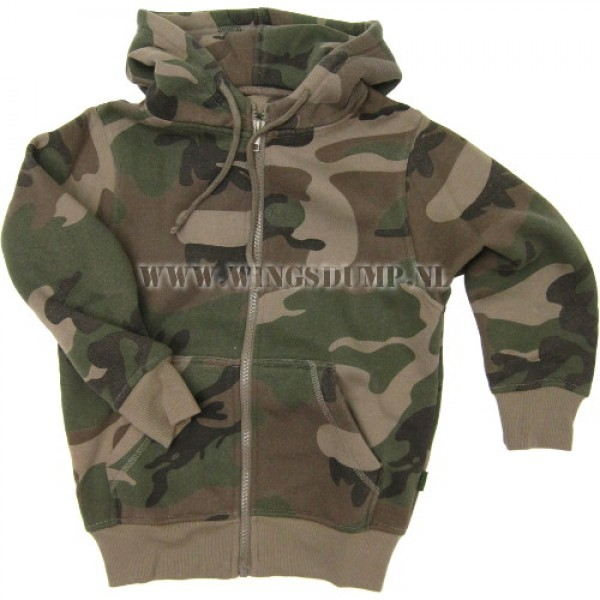 Kinder hooded zipvest camo