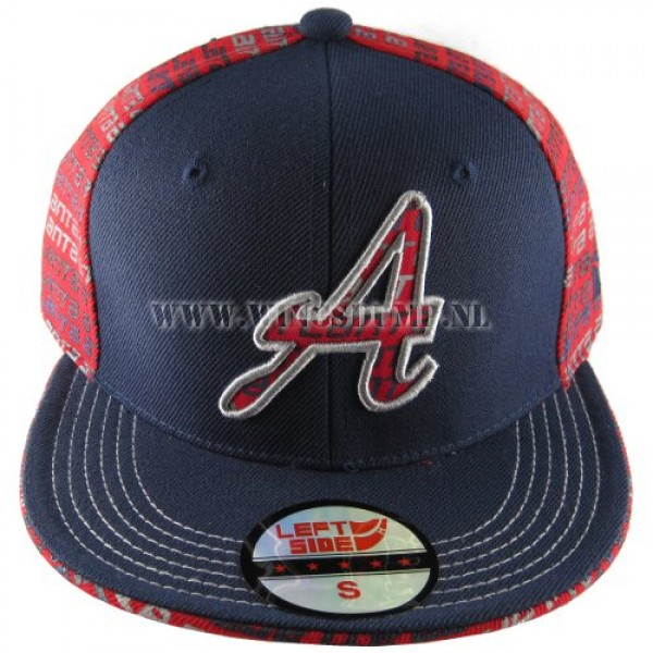 Cap fitted Atlanta rood blauw
