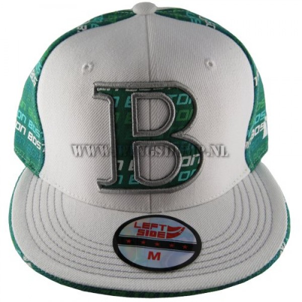 Cap fitted Boston wit groen