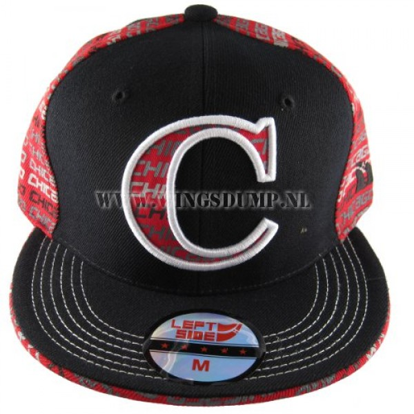 Cap fitted Chicago zwart rood