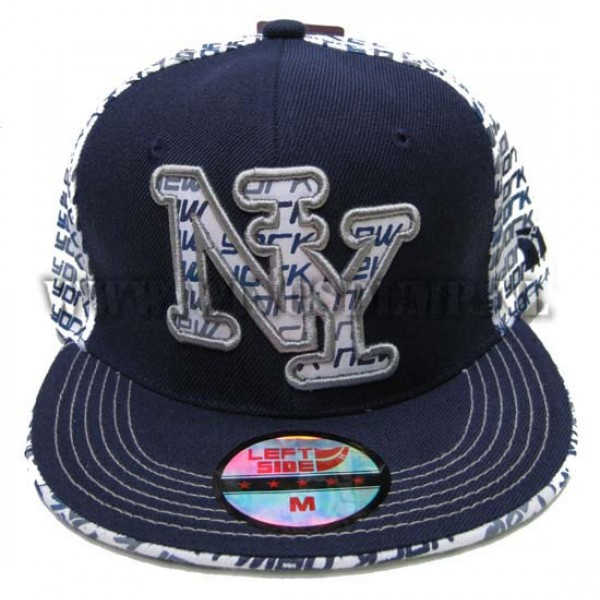 Cap fitted NY blauw wit
