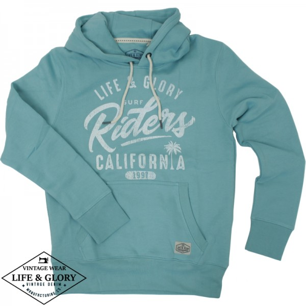 Hooded sweater Riders aqua