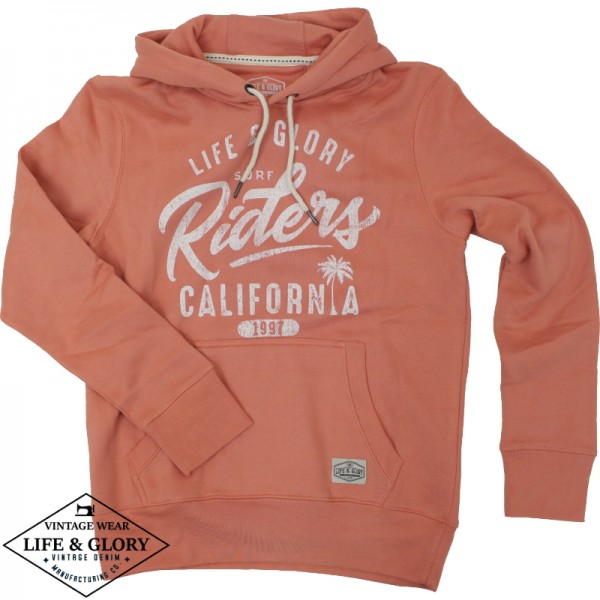 Hooded sweater Riders coral