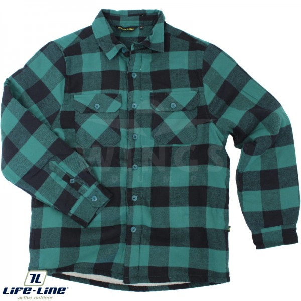 Life-Line borg overhemd groen-zwart