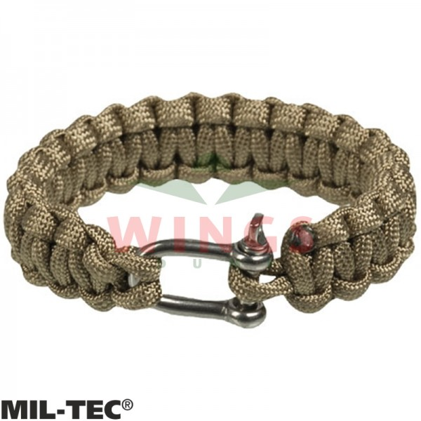 Armband paracord coyote tan/rvs 15 mm breed