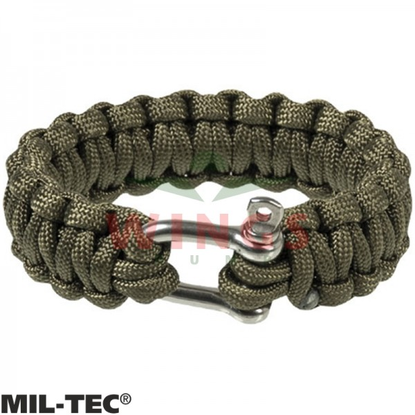 Armband paracord groen/rvs 22 mm breed