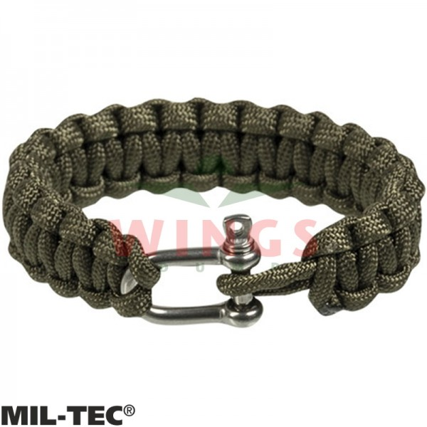 Armband paracord groen/rvs 15 mm breed