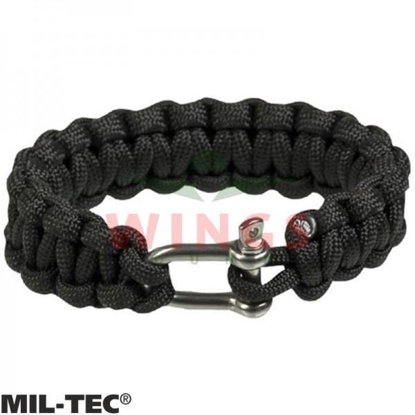 Armband paracord zwart/rvs 15 mm breed