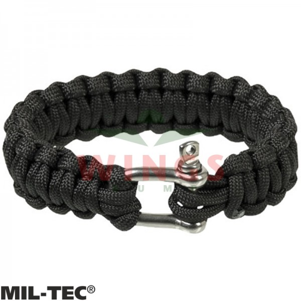 Armband paracord zwart/rvs 22 mm breed