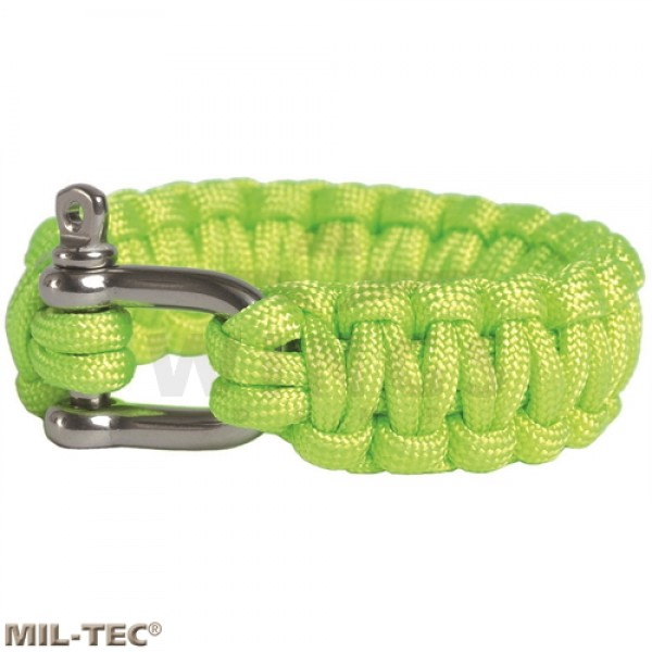Armband paracord rvs harpsluiting lime green