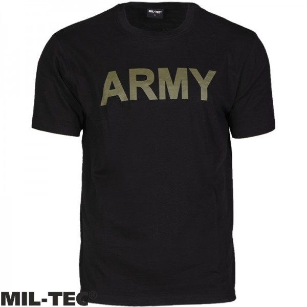 T-Shirt Mil-tec met Army print zwart