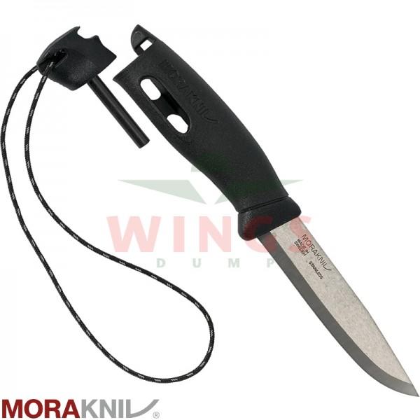 Mora fireknife zwart met firesteel en hoes