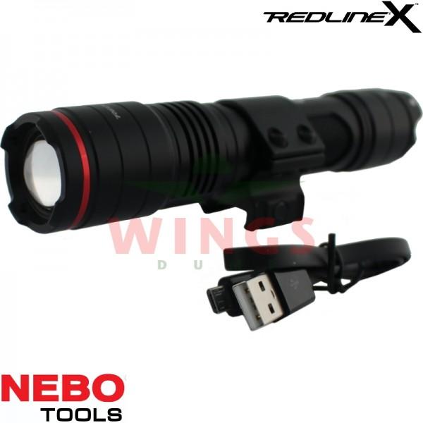 Nebo Redline-X rechargeable zoom ledlamp met Weavermount