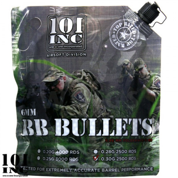 101inc. airsoft bb's 0,30 gram 2500 stuks