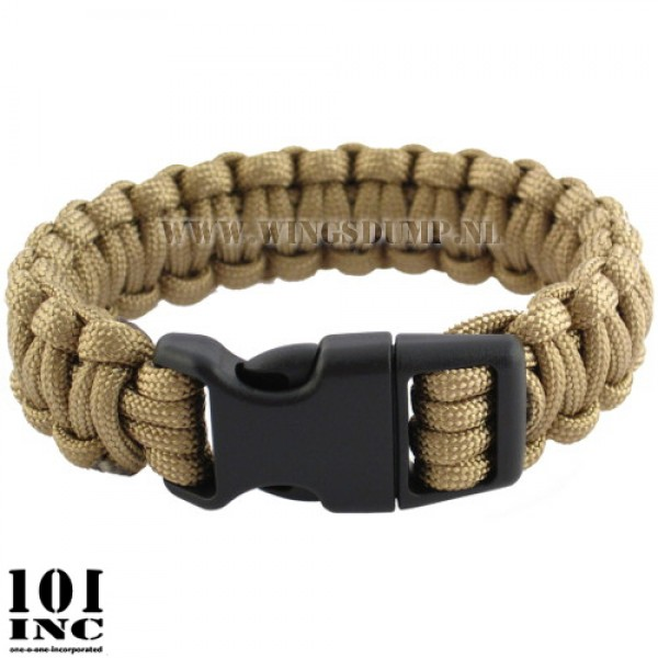 Armband paracord met grote buckle coyote tan