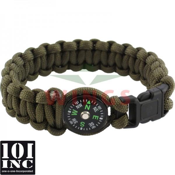 Armband paracord met kompas groen