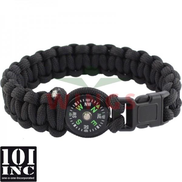 Armband paracord met kompas zwart