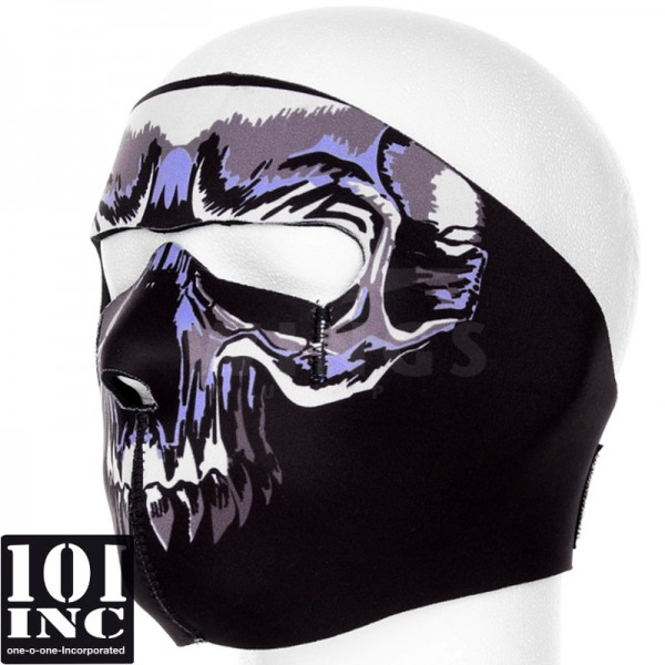 Bikermask full face skull black-blue