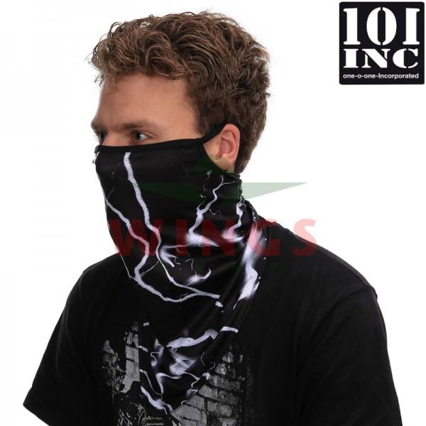 Face mask met oorlus skull zwart lightning