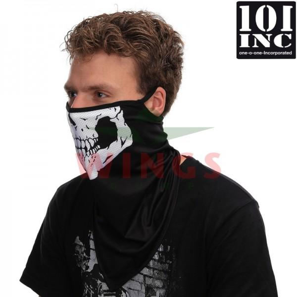 Face mask met oorlus skull zwart skull wit