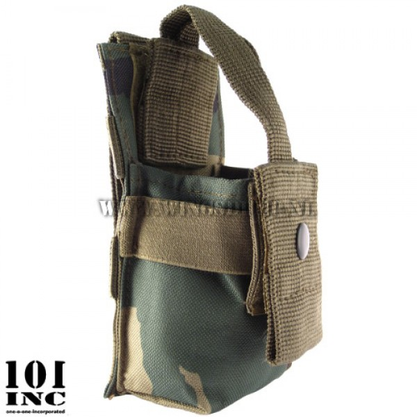 Molle system radio utility pouch woodland