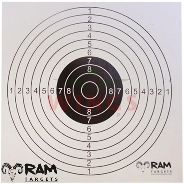 Schietkaarten Ram Targets 1 roos 14x14 cm. 100 stuks