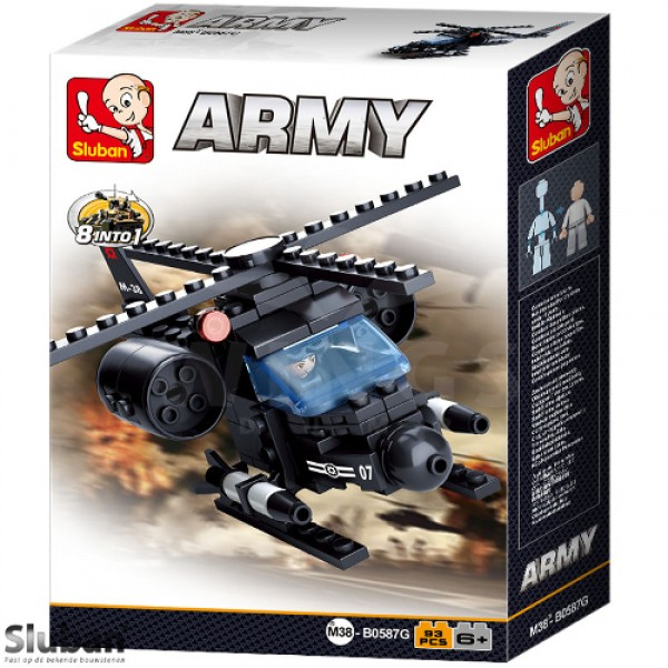 Sluban Army 8 into 1 Helicopter zwart