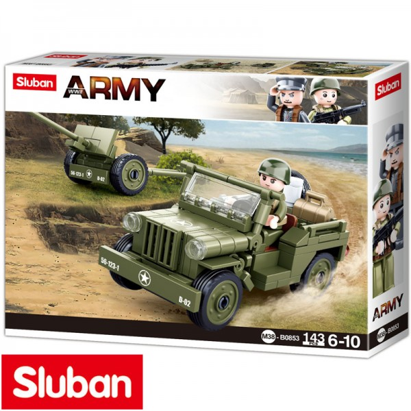 Sluban WW-II Allied Jeep met kanon