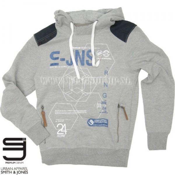 Hooded sweater Smith & Jones mid grey marl