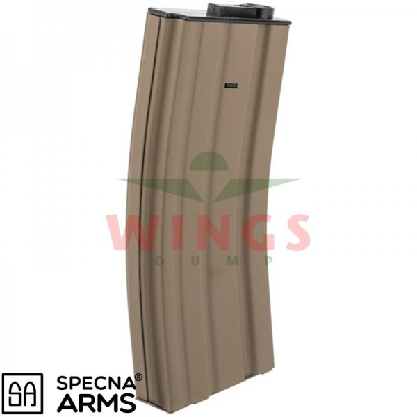 Specna Arms metal M4 mid-cap magazijn 120 rounds tan