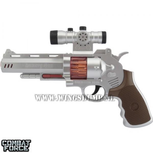 Speelgoed revolver 25 cm. zilver bruin
