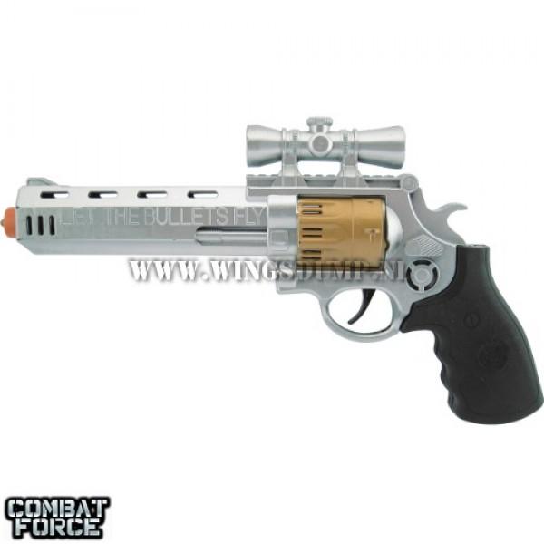 Speelgoed revolver 29 cm. zilver zwart