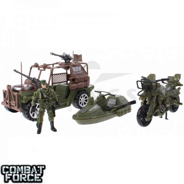 Speelgoed army set jeep motor en jetski