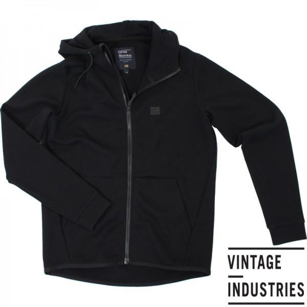Vintage Industries Albury hooded zip sweater zwart