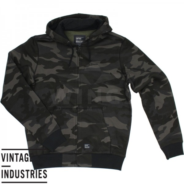 Vintage Industries Redstone zip sweater dark camo