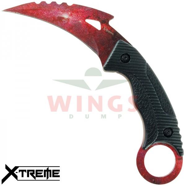 X-treme Karambit mes zwart / fire red