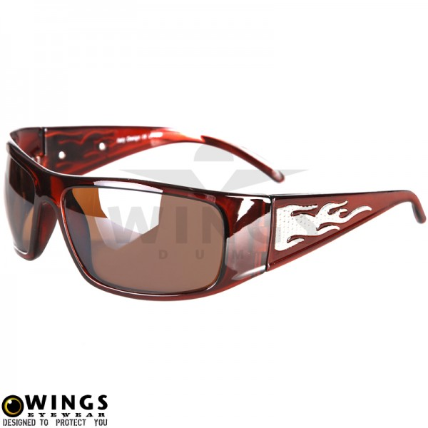 Zonnebril biker brown flame smoke lenses