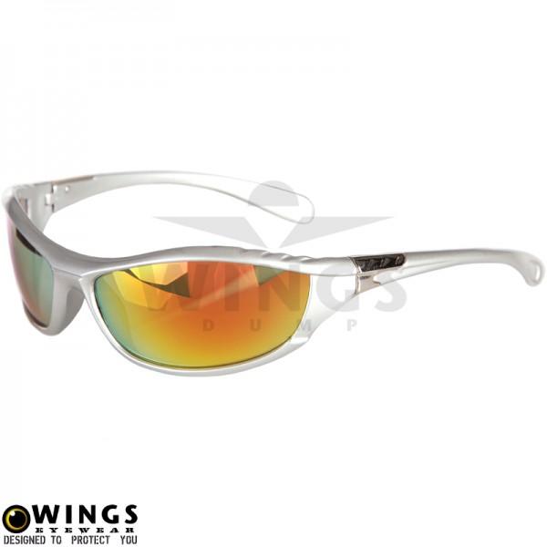 Zonnebril biker silver frame met red lenses